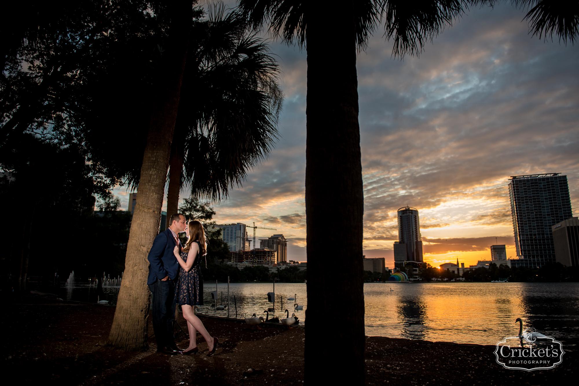 Amber And Alex Romantic Lake Eola Sunset Engagement